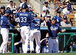 Los Angeles Dodgers' Scott Van Slyke is greeted at the dugout after hitting a home run against the Arizona Diamondbacks in a spring training game in Glendale, Ariz., on Friday, March 24, 2017.<br /> Photo by Cathleen Allison/Nevada Photo Source
