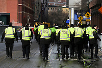 February 4, 2015 - Boston, Massachusetts, U.S. -  Boston police head out to secure the route prior to the New England Patriots parade to celebrate the team's victory over the Seattle Seahawks in Super Bowl XLIX. Eric Canha/CSM
