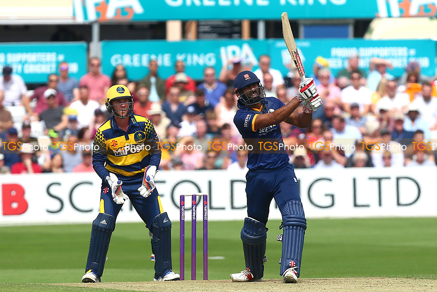 Varun Chopra hits six runs for Essex as Chris Cooke looks on from behind the stumps during Essex Eagles vs Glamorgan, NatWest T20 Blast Cricket at The Cloudfm County Ground on 16th July 2017