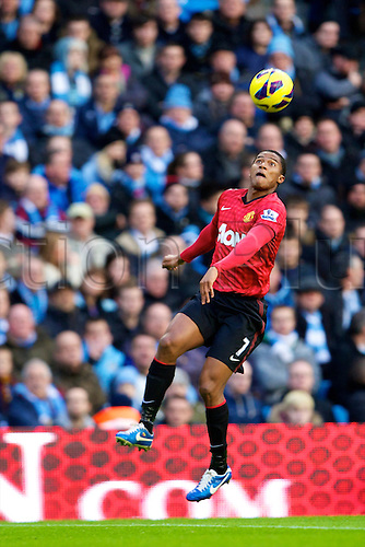 09.12.2012 Manchester, England. Manchester United's Ecuadorian midfielder Antonio Valencia in action during the Premier League game between Manchester City and Manchester United from the Etihad Stadium. Manchester United scored a late winner to take the game 2-3.