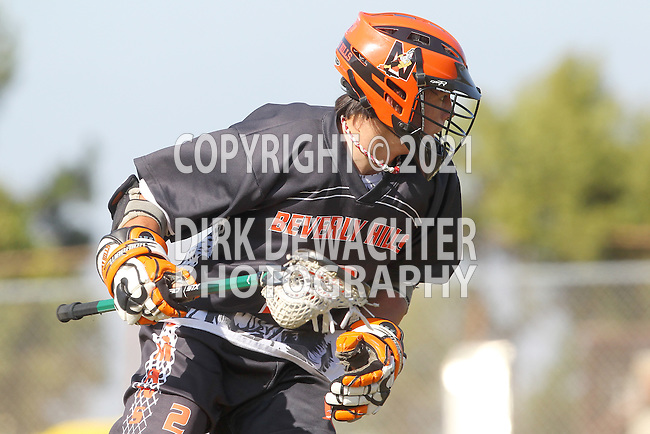Palos Verdes, CA 04/12/13 - Nicholas Heller (Beverly Hills #2) in action during the Beverly Hills vs Peninsula Varsity Boys Lacrosse game.  Peninsula defeated Beverly Hills 8-5.