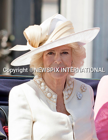17.06.2017; London, UK: TROOPING THE COLOUR 2017 - CAMILLA<br /> joined other members of the royal family for the Trooping The Colour to celebrate the Queen&rsquo;s 91st Official Birthday<br /> Royals present included the Duke of Edinburgh, Prince Charles and Camilla, Duchess of Cornwall, Prince William, Kate Middleton, Prince George; Princess Charlotte; Prince Harry, Prince Andrew; Princess Beatrice, Princess Eugenie, Prince Edward, Princess Anne, Zara Phillips &amp; Mike Tindal, Prince and Princess Michael Of Kent, Lady Helen Taylor, Duke of Kent, Duke of Gloucester and Duchess of Gloucester,Peter Phillips and Autumn and Lady Amelia Windsor.<br /> Mandatory Credit Photo: &copy;Francis Dias/NEWSPIX INTERNATIONAL<br /> <br /> IMMEDIATE CONFIRMATION OF USAGE REQUIRED:<br /> Newspix International, 31 Chinnery Hill, Bishop's Stortford, ENGLAND CM23 3PS<br /> Tel:+441279 324672  ; Fax: +441279656877<br /> Mobile:  07775681153<br /> e-mail: info@newspixinternational.co.uk<br /> Usage Implies Acceptance of OUr Terms &amp; Conditions<br /> Please refer to usage terms. All Fees Payable To Newspix International