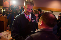 Senator Scott Brown (R-MA) speaks with a man at a meeting of the Law Enforcement Coalition for Brown at Johnny Jack's Restaurant in Milford, Massachusetts, USA, on Thurs., Nov. 2, 2012. Senator Scott Brown is seeking re-election to the Senate.  His opponent is Elizabeth Warren, a democrat.