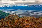 Rock piles at Bird Ridge and Turnagain Arm, Chugach State Park, Alaska Chugach State Park, Southcentral Alaska, Summer.