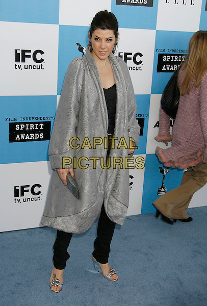 MARISA TOMEI .The 2007 Independent Spirit Awards held at the Santa Monica Pier, Santa Monica, California, USA..February 24th, 2007.full length silver grey gray top jacket coat clutch purse .CAP/ADM/RE.©Russ Elliot/AdMedia/Capital Pictures