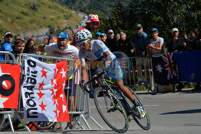 Nairo QUINTANA (COL) Movistar attacks on Alpe d'Huez during Stage 20 of the 2015 Tour de France running 110.5km from Modane Valfrejus to Alpe d'Huez, France. 25th July 2015.<br /> Photo: ASO/B.Bade/Newsfile