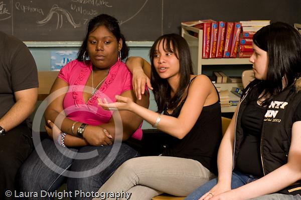 Education High School Public senior students talking in English class horizontal