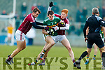 Jack Barry Kerry in action against Paul Conroy and Peter Cooke Galway in the Allianz Football League Division 1 Round 4 match between Kerry and Galway at Austin Stack Park, Tralee, Co. Kerry.
