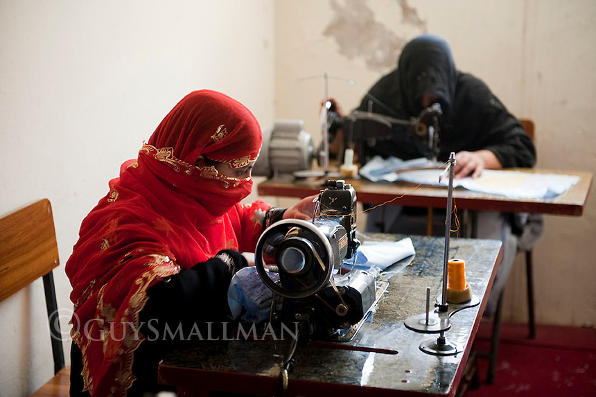 Afghan Women learn craft and embroidery skills in a centre run by the Organisation of Promoting Afghan Women's Capabilities (OPAWC) in Kabul.