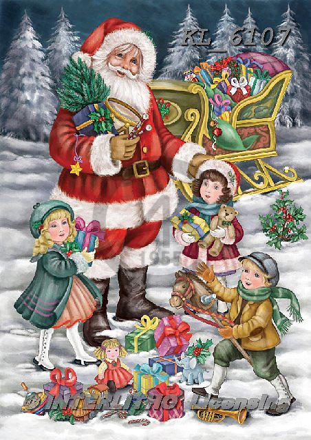 Interlitho-Dani, CHRISTMAS SANTA, SNOWMAN, WEIHNACHTSMÄNNER, SCHNEEMÄNNER, PAPÁ NOEL, MUÑECOS DE NIEVE, paintings+++++,santa, tree,children,kids,toys,,KL6107,#x#,nostalgic