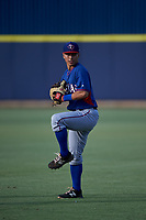 AZL Rangers infielder Cody Freeman (33) warms up before an Arizona League game against the AZL Brewers Blue on July 11, 2019 at American Family Fields of Phoenix in Phoenix, Arizona. The AZL Rangers defeated the AZL Brewers Blue 5-2. (Zachary Lucy/Four Seam Images)
