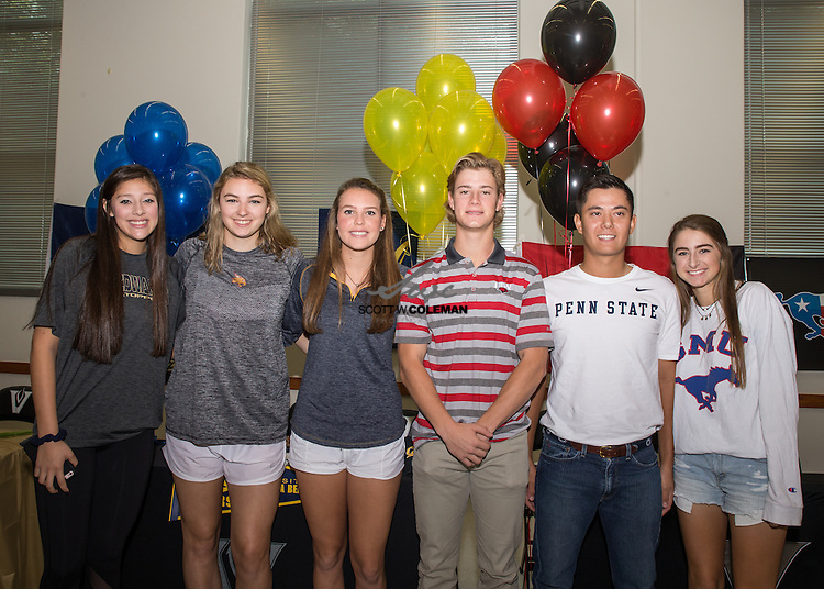 Katarina Mendez, Effie Zielinski, Jacqueline Ribiero, Johnny Foral, Daniel Martinez and Sophie DeGesualdo in a signging day ceremony at Vandegrift High School in Austin, Texas, on November 10, 2016.
