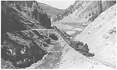 RGS locomotive #42 with southbound freight extra 2 miles upgrade from Rico at bridge 64-A.<br /> RGS  Burns Canyon, CO  Taken by Jackson, Richard B. - 7/7/1939
