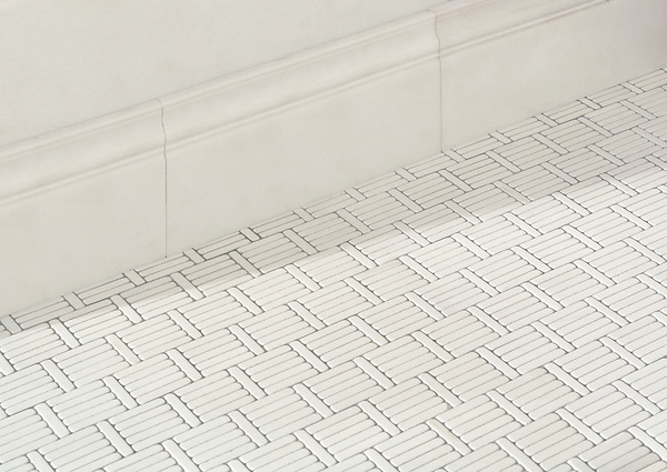 Wicker, a hand-cut tumbled mosaic, shown in Dolomite, is part of the Tissé® collection for New Ravenna..