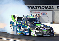 Aug. 16, 2013; Brainerd, MN, USA: NHRA funny car driver Tony Pedregon during qualifying for the Lucas Oil Nationals at Brainerd International Raceway. Mandatory Credit: Mark J. Rebilas-
