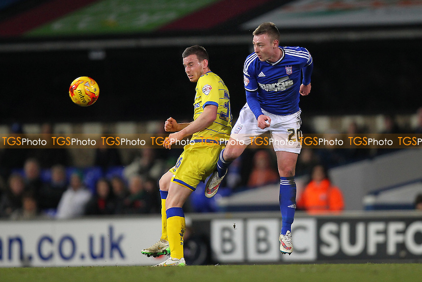 Freddie Sears of Ipswich Town rises with Marnick Vermijl of Sheffield Wednesday - Ipswich Town vs Sheffield Wednesday - Sky Bet Championship Football at Portman Road, Ipswich, Suffolk  - 10/02/15 - MANDATORY CREDIT: Gavin Ellis/TGSPHOTO - Self billing applies where appropriate - contact@tgsphoto.co.uk - NO UNPAID USE