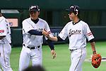 (L to R) .Ryoji Aikawa (JPN), .Kenta Maeda (JPN), .MARCH 3, 2013 - WBC : .2013 World Baseball Classic .1st Round Pool A .between Japan 5-2 China .at Yafuoku Dome, Fukuoka, Japan. .(Photo by YUTAKA/AFLO SPORT)