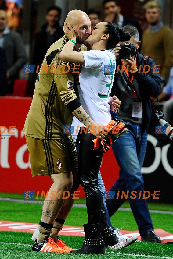 Christian Abbiati Milan con la moglie<br /> Milano 14-05-2016 Stadio Giuseppe Meazza - Football Calcio Serie A Milan - AS Roma. Foto Giuseppe Celeste / Insidefoto