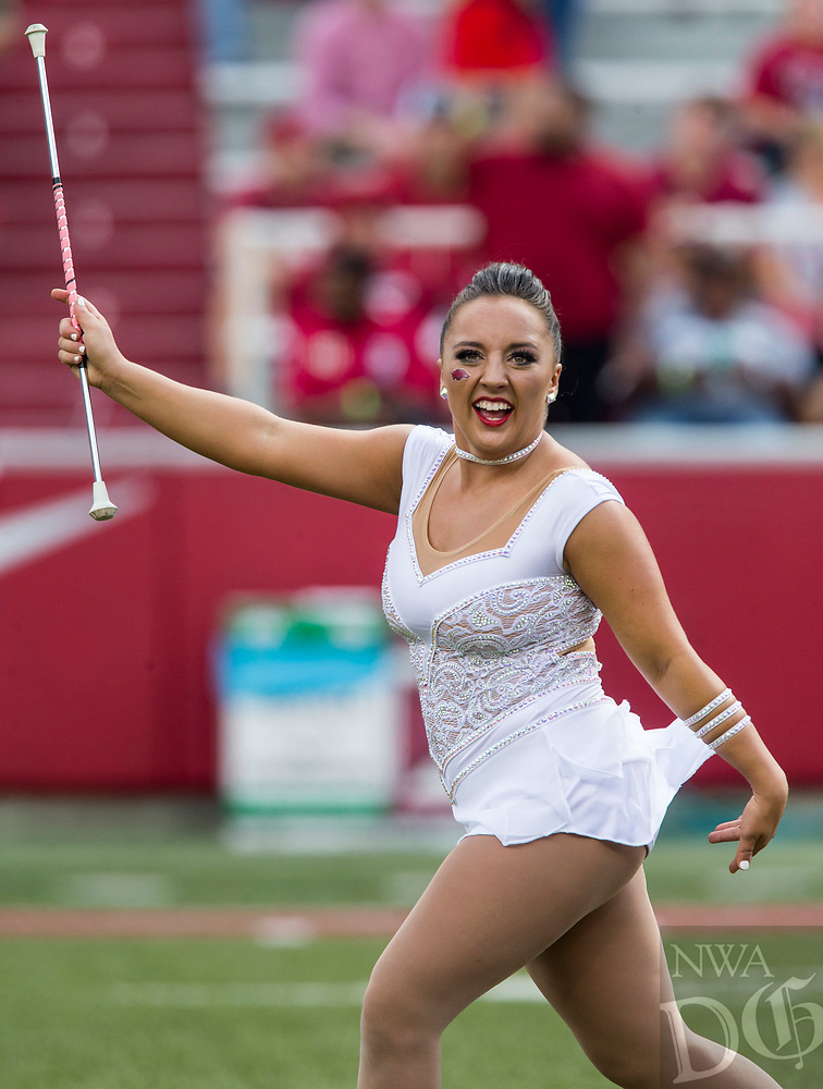 Hawgs Illustrated/BEN GOFF <br /> Savannah Miller, Arkansas featured twirler, Saturday, Oct. 6, 2018, at Razorback Stadium in Fayetteville.
