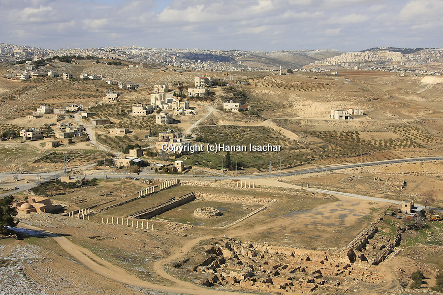 Judea, Herodion, built by Herod the Great in the Judean desert, the lower city, located to the north-west of the fortress, Bethlehem is in the background