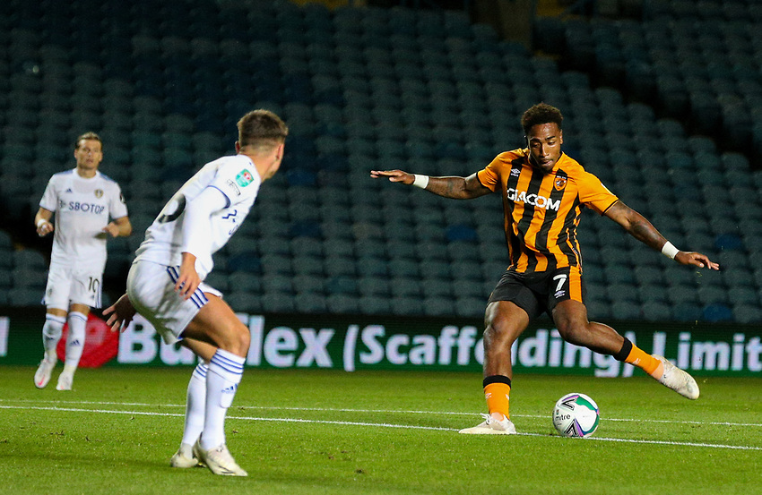 Hull City's Mallik Wilks scores the opening goal <br /> <br /> Photographer Alex Dodd/CameraSport<br /> <br /> Carabao Cup Second Round Northern Section - Leeds United v Hull City -  Wednesday 16th September 2020 - Elland Road - Leeds<br />  <br /> World Copyright © 2020 CameraSport. All rights reserved. 43 Linden Ave. Countesthorpe. Leicester. England. LE8 5PG - Tel: +44 (0) 116 277 4147 - admin@camerasport.com - www.camerasport.com