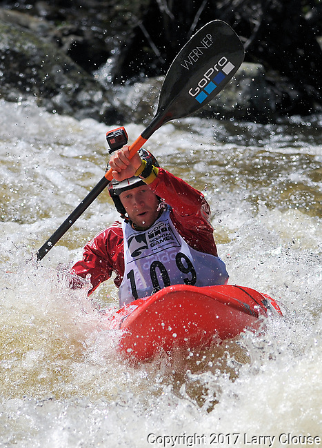 June 8, 2017 - Vail, Colorado, U.S. - Canadian, Nick Troutman, is all concentration on Homestake Creek's upper section in the Steep Creek competition during the GoPro Mountain Games, Vail, Colorado.  Adventure athletes from around the world meet in Vail, Colorado, June 8-11, for America's largest celebration of mountain sports, music, and lifestyle.