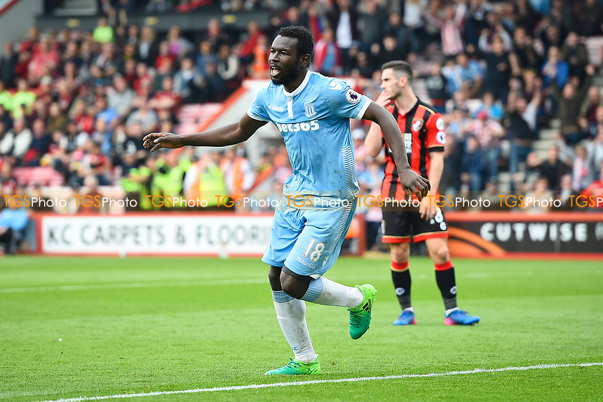 Mame Biram Diouf of Stoke City celebrates his goal during AFC Bournemouth vs Stoke City, Premier League Football at the Vitality Stadium on 6th May 2017