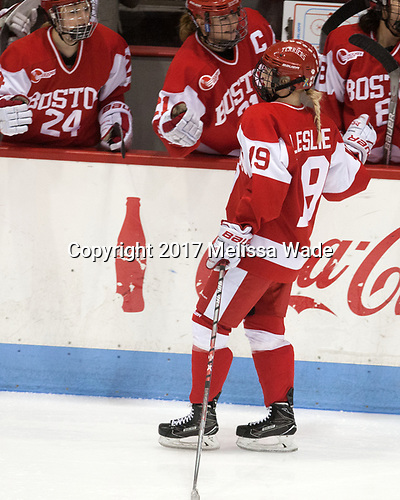 Rebecca Leslie (BU - 19) - The Harvard University Crimson tied the Boston University Terriers 6-6 on Monday, February 7, 2017, in the Beanpot consolation game at Matthews Arena in Boston, Massachusetts.