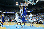 22 December 2012: McNeese State's Kevin Hardy (11) blocks a shot by North Carolina's Jackson Simmons (21) past P.J. Hairston (15) as North Carolina's James Michael McAdoo (43) and McNeese State's Dontae Cannon (5) watch. The University of North Carolina Tar Heels played the McNeese State University Cowboys at the Dean E. Smith Center in Chapel Hill, North Carolina in an NCAA Division I Men's college basketball game. UNC won the game 97-63.