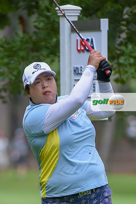 Shanshan Feng (CHN) watches her tee shot on 11 during round 1 of the U.S. Women's Open Championship, Shoal Creek Country Club, at Birmingham, Alabama, USA. 5/31/2018.<br /> Picture: Golffile | Ken Murray<br /> <br /> All photo usage must carry mandatory copyright credit (© Golffile | Ken Murray)