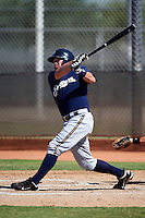 Milwaukee Brewers minor league catcher Joey Paciorek #33 during an instructional league game against the Cincinnati Reds at Maryvale Baseball Park on October 3, 2012 in Phoenix, Arizona.  (Mike Janes/Four Seam Images)