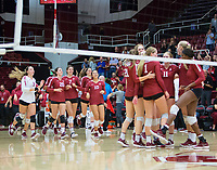 STANFORD, CA - November 3, 2018: Meghan McClure, Sidney Wilson, Jenna Gray, Tami Alade, Kathryn Plummer, Kate Formico, Morgan Hentz, Caitlin Keefe, Mackenzie Fidelak, Payton Chang at Maples Pavilion. No. 1 Stanford Cardinal defeated No. 15 Colorado Buffaloes 3-2.