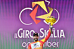 Riccardo Stacchiotti (ITA) Giotti Victoria-Palomar Continental team wins Stage 1 and wears the leaders jersey of Il Giro di Sicilia running 165km from Catania to Milazzo, Italy. 3rd April 2019.<br /> Picture: LaPresse/Fabio Ferrari | Cyclefile<br /> <br /> <br /> All photos usage must carry mandatory copyright credit (© Cyclefile | LaPresse/Fabio Ferrari)
