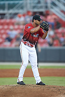 South Division pitcher Edgar Arredondo (46) of the Down East Wood Ducks looks to the catcher for a sign during the 2018 Carolina League All-Star Classic at Five County Stadium on June 19, 2018 in Zebulon, North Carolina. The South All-Stars defeated the North All-Stars 7-6.  (Brian Westerholt/Four Seam Images)