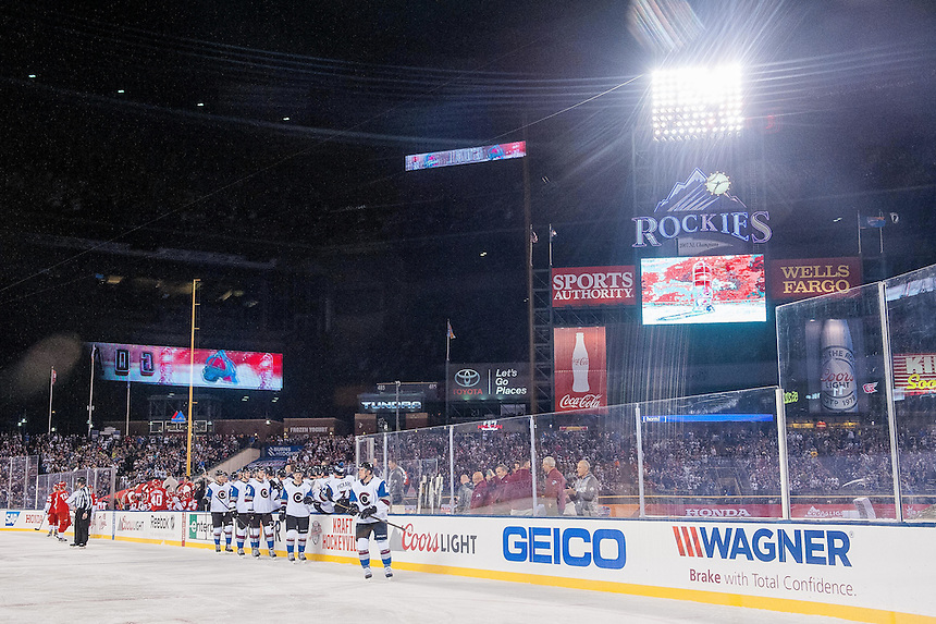 27 FEBRUARY 2016:     Colorado Avalanche players celebrate a first period goal   during a NHL Stadium Series game between the Red Wings an Avalanche at Coors Field in Denver Denver, Colorado.  (Photo by Dustin Bradford/Icon Sportswire)