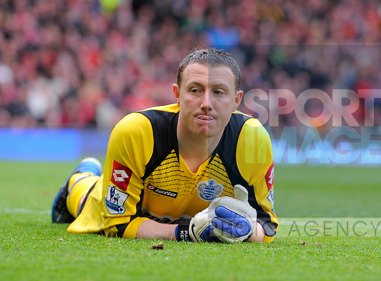 Paddy Kenny of QPR sticks out his tongue.Barclays Premier League match between Manchester Utd v QPR at Old Trafford Stadium, Manchester on the 8th April 2012..Sportimage +44 7980659747.picturedesk@sportimage.co.uk.http://www.sportimage.co.uk/.