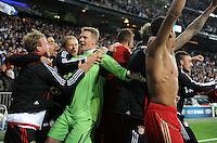 FUSSBALL   CHAMPIONS LEAGUE SAISON 2011/2012  HALBFINALE  RUECKSPIEL      Real Madrid - FC Bayern Muenchen           25.04.2012 Schlussjubel FC Bayern nach dem Abpfiff mit Manuel Neuer (Mitte)