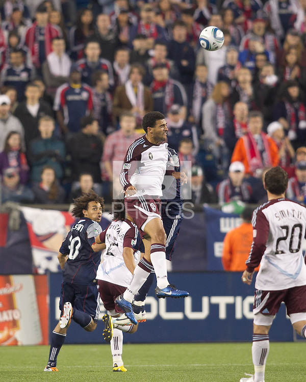 Colorado Rapids forward Andre Akpan (19) heads the ball. In a Major League Soccer (MLS) match, the New England Revolution tied the Colorado Rapids, 0-0, at Gillette Stadium on May 7, 2011.
