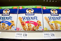 Boxes of Quaker Yogourt bar are seen in a Metro grocery store in Quebec city March 4, 2009.