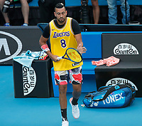 27th January 2020; Melbourne Park, Melbourne, Victoria, Australia; Australian Open Tennis, Day 8; Nick Kyrgios of Australia wears a commemorative basketball shirt of  Kobe Bryant before his match against Rafael Nadal