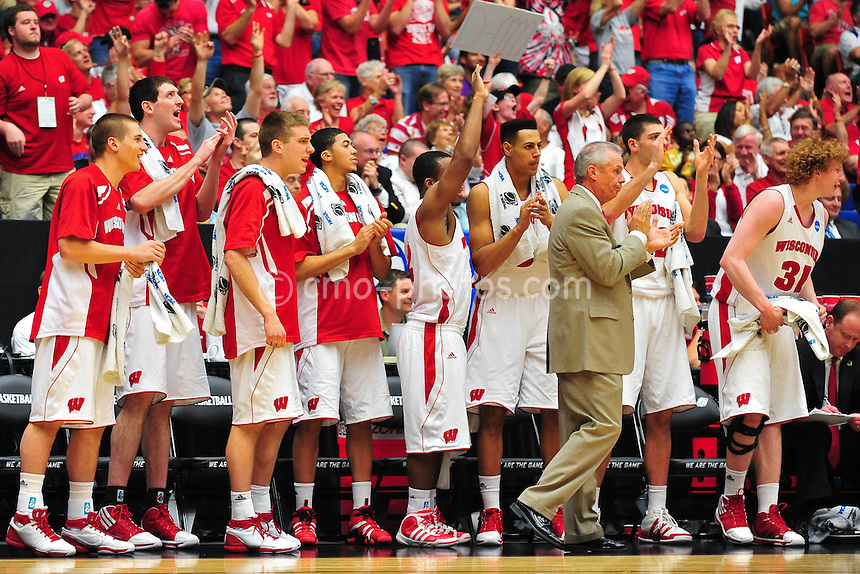 Mar 17, 2011; Tucson, AZ, USA; The Wisconsin Badgers bench reacts to a made three-point shot in the second half of a game against the Belmont Bruins in the second round of the 2011 NCAA men's basketball tournament at the McKale Center.  The Badgers won 72-58.