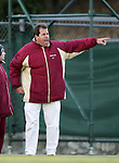 Florida State head coach Mark Krikorian yells instructions to his team on Friday, November 25th, 2005 at Fetzer Field in Chapel Hill, North Carolina. The Florida State Seminoles defeated the University of North Carolina Tarheels 5-4 on penalty kicks after the teams tied 1-1 after overtime during their NCAA Women's Soccer Tournament quarterfinal game.