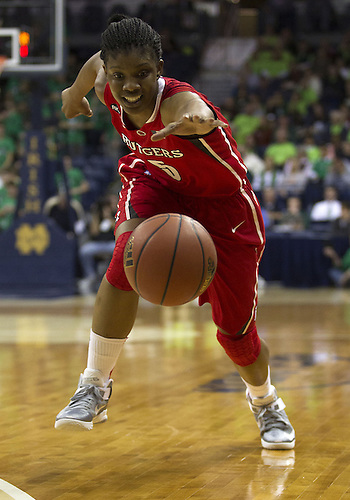 January 13, 2013:  Rutgers guard Precious Person (5) chases the loose ball during NCAA Basketball game action between the Notre Dame Fighting Irish and the Rutgers Scarlett Knights at Purcell Pavilion at the Joyce Center in South Bend, Indiana.  Notre Dame defeated Rutgers 71-46.