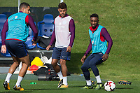 Alex Oxlade-Chamberlain and Jermain Defoe during the part open training session of the  England national football squad at St George's Park, Burton-Upon-Trent, England on 31 August 2017. Photo by James Williamson.