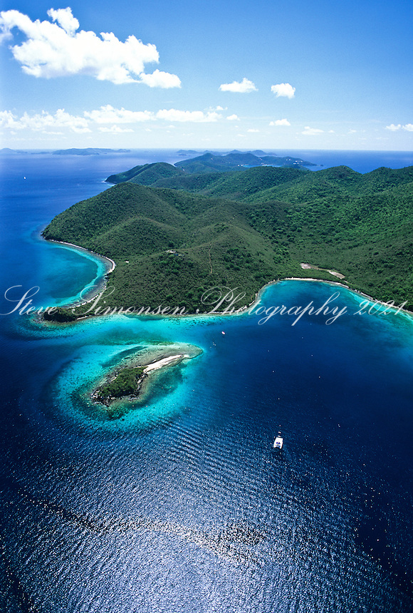 Aerial view of Leinster Bay and Waterlemon Cay<br />
