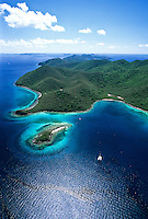 Aerial view of Leinster Bay and Waterlemon Cay<br /> Virgin Islands National Park<br /> St. John, U.S. Virgin Islands