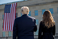 United States President Donald J. Trump, left, and U.S. First Lady Melania Trump pause during a ceremony to commemorate the September 11, 2001 terrorist attacks, at the Pentagon in Washington, D.C., U.S., on Monday, Sept. 11, 2017. Trump is presiding over his first 9/11 commemoration on the 16th anniversary of the terrorist attacks that killed nearly 3,000 people when hijackers flew commercial airplanes into New York's World Trade Center, the Pentagon and a field near Shanksville, Pennsylvania. <br /> CAP/MPI/CNP/RS<br /> &copy;RS/CNP/MPI/Capital Pictures