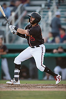 Modesto Nuts right fielder Nick Zammarelli III (25) follows through on his swing during a California League game against the Lake Elsinore Storm at John Thurman Field on May 11, 2018 in Modesto, California. Modesto defeated Lake Elsinore 3-1. (Zachary Lucy/Four Seam Images)