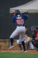 Atlanta Braves Derian Cruz (50) during an instructional league game against the Houston Astros on October 1, 2015 at the Osceola County Complex in Kissimmee, Florida.  (Mike Janes/Four Seam Images)