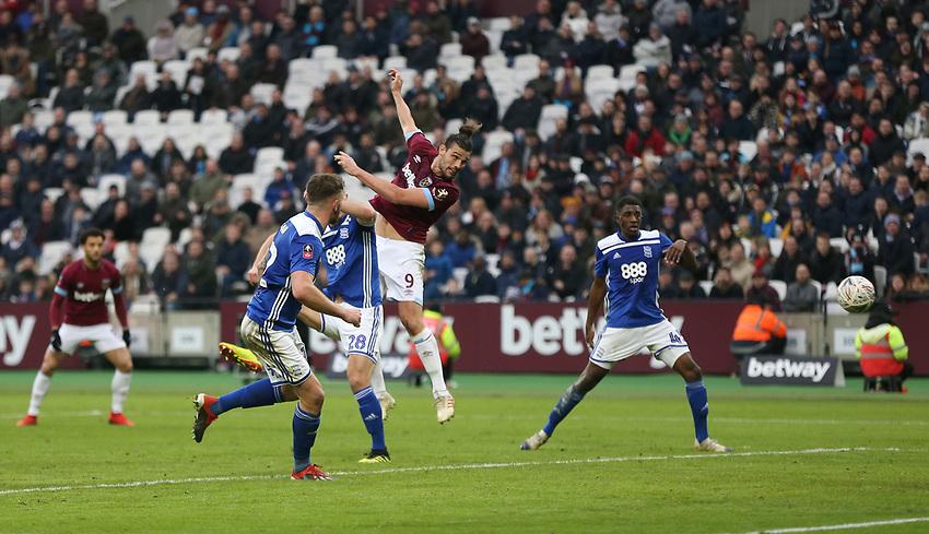 West Ham United's Andy Carroll scores his side's second goal <br /> <br /> Photographer Rob Newell/CameraSport<br /> <br /> Emirates FA Cup Third Round - West Ham United v Birmingham City - Saturday 5th January 2019 - London Stadium - London<br />  <br /> World Copyright © 2019 CameraSport. All rights reserved. 43 Linden Ave. Countesthorpe. Leicester. England. LE8 5PG - Tel: +44 (0) 116 277 4147 - admin@camerasport.com - www.camerasport.com
